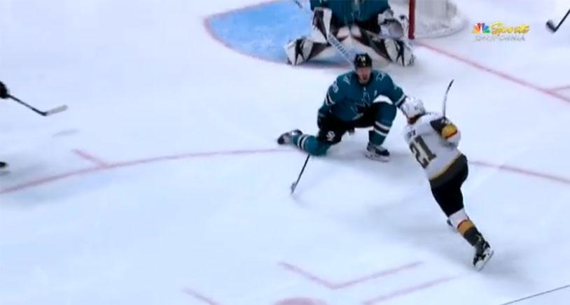San Jose Sharks Logan Couture Blocks A Shot With His Balls