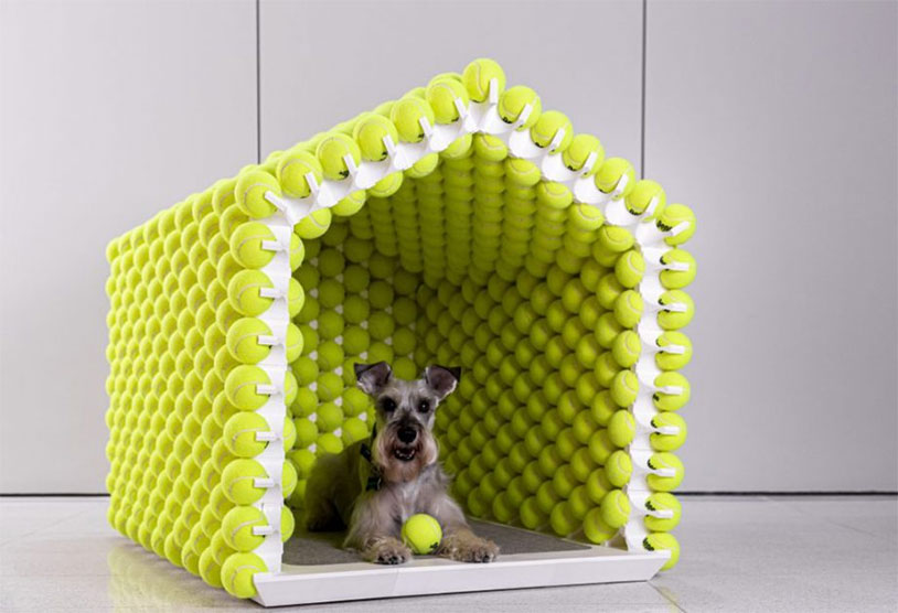 This Modern Dog House Is Made From Tennis Balls